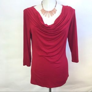 Anthro Deletta Deep Red Scoop Cowl Neck Blouse